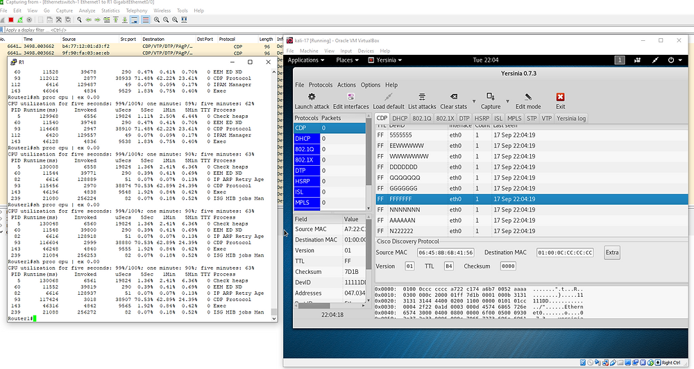 CDP Layer 2 Flood Attack with Yersinia, also the random CDP messages being sent