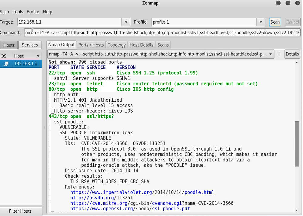 Nmap showing SSL vulnerability on a Cisco router