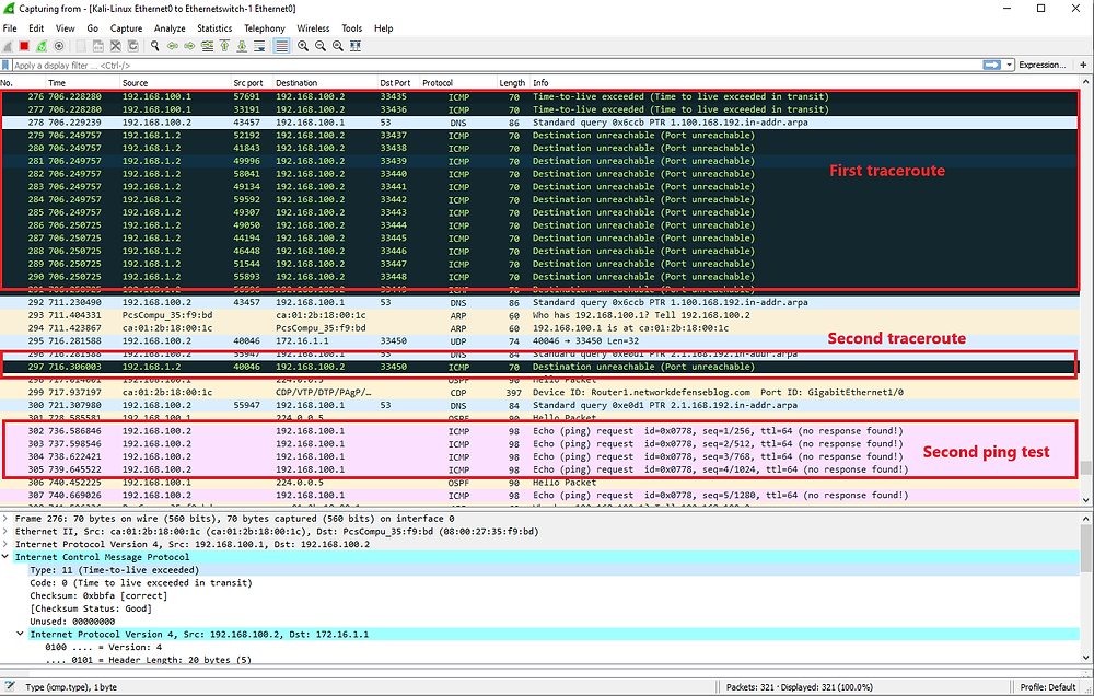 Ping and Traceroute tests as viewed in wireshark before and after IP unreachables are disabled