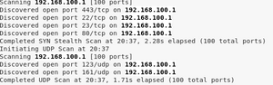 Nmap results showing open ports on the Cisco router