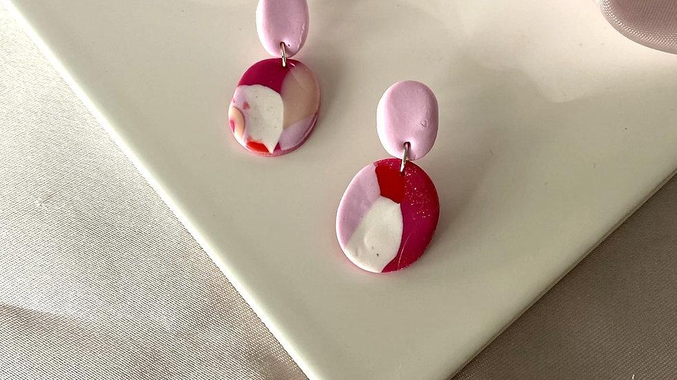 Pretty in pink - Oval Earrings