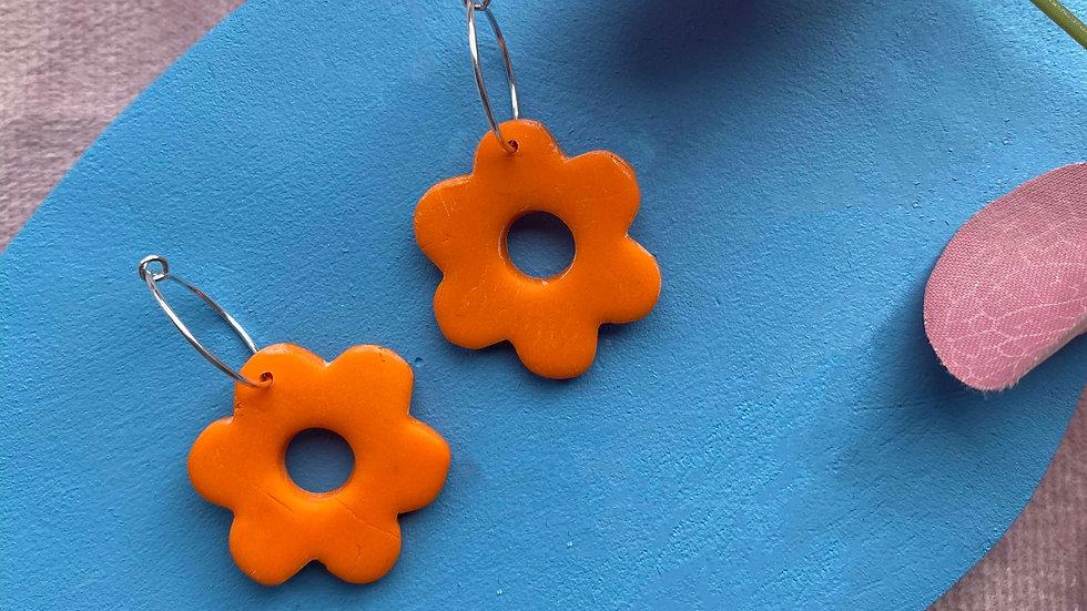 Orange Flower power hoops