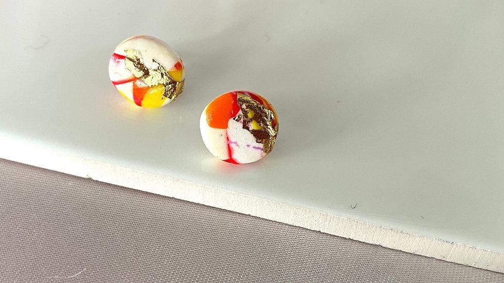 Orange sparkle - Stud earrings