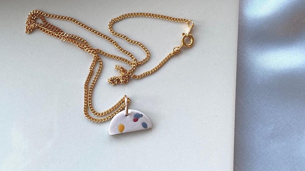 Semi-circle gold silver necklace