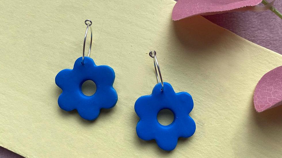 Blue Flower power hoops