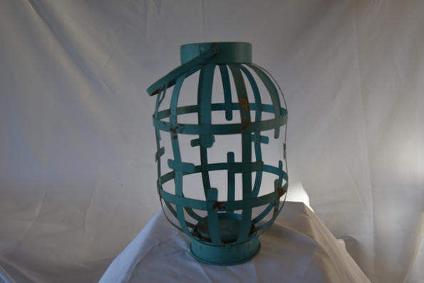 Large Blue Metal Lantern