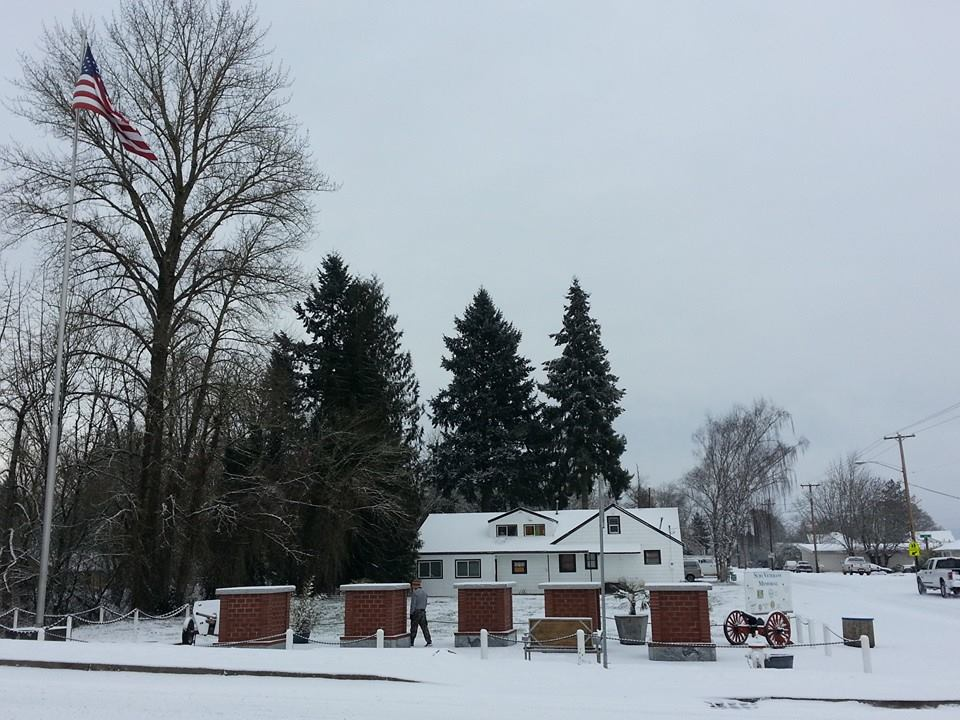 Scio Veterans Memorial in Winter