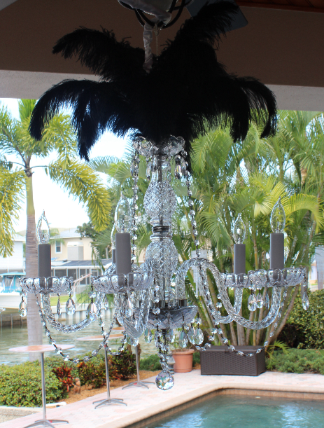Austrian Chandelier with feathers