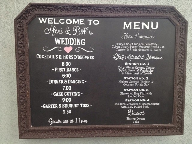 Chalkboard Menu and reception