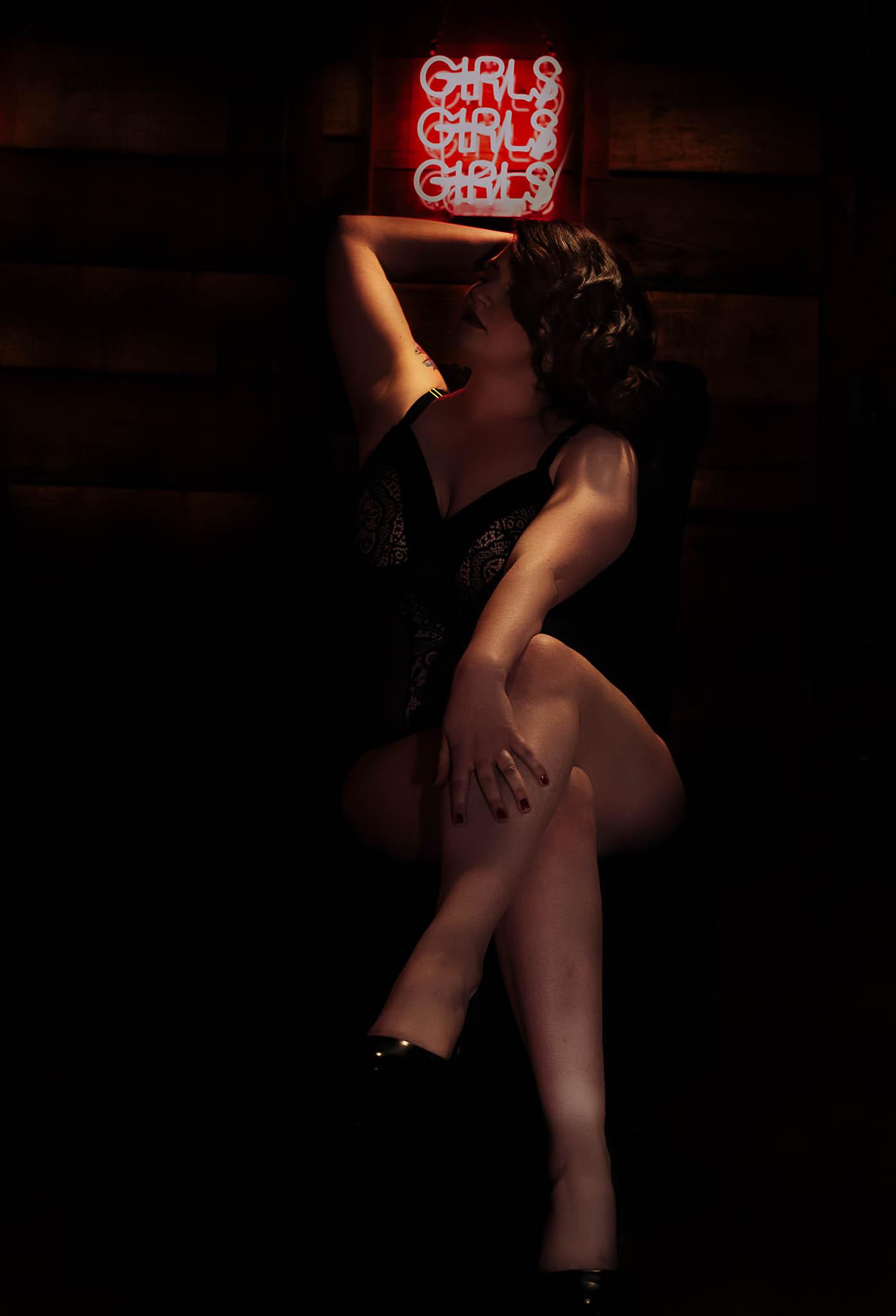 shadowy portrait of woman in heels