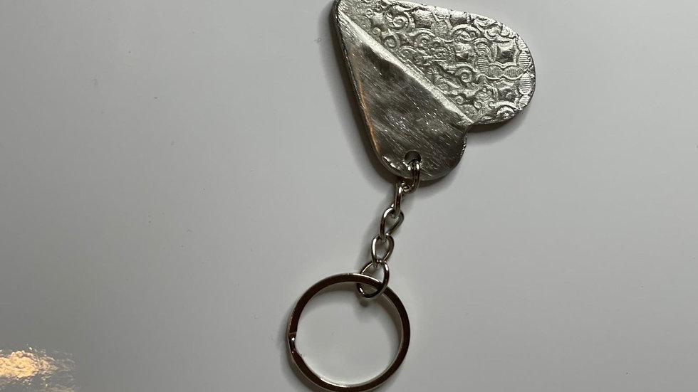 Half textured heart key ring
