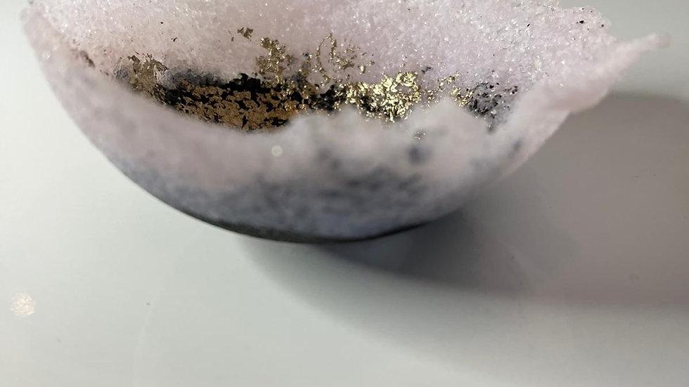 Small guilded pate de verre vessel