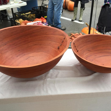 bowls with leather stitchng
