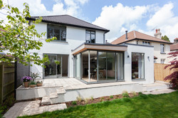Scandi inspired corner glazed extension exterior 02 by DHV Architects