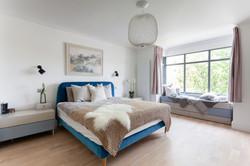 Scandi inspired corner glazed extension bedroom 01 by DHV Architects