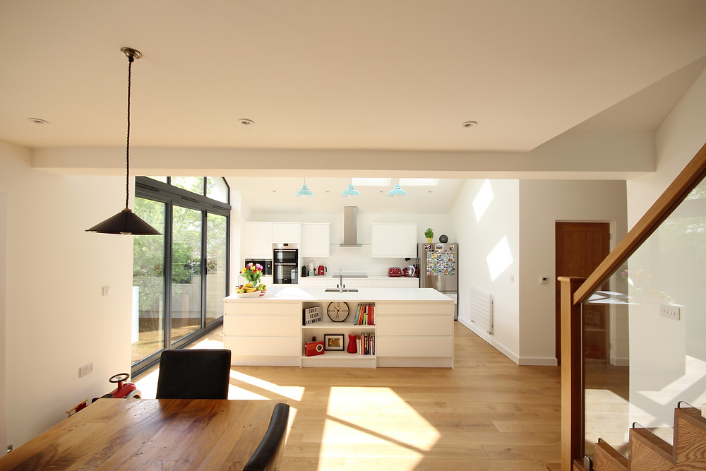 Bungalow remodel featuring large open plan kitchen diner