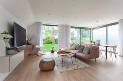 Scandi inspired corner glazed extension interior 04 by DHV Architects