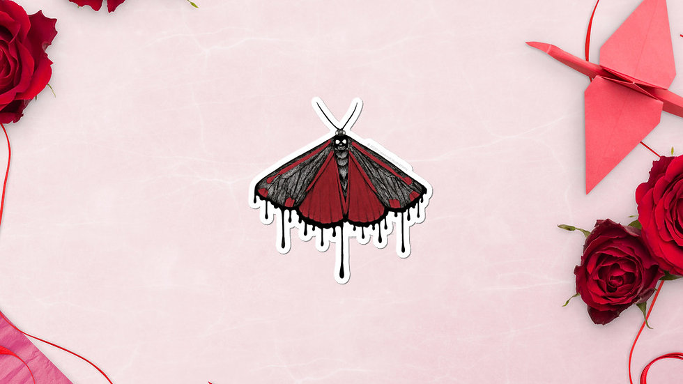 Spooky Cinnabar Moth Sticker