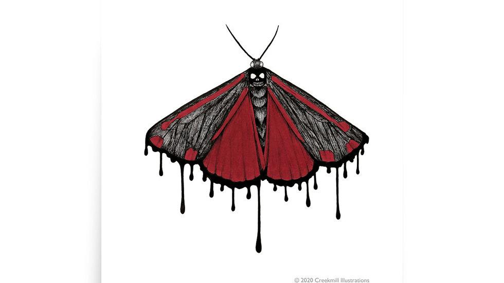 Spooky Cinnabar Moth Poster