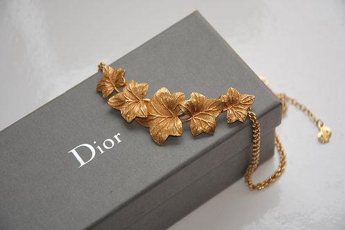 Christian Dior Gilt Ivy Leaf Design Necklace