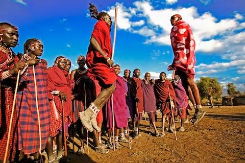 Maasai warriors exercising traditional dancing