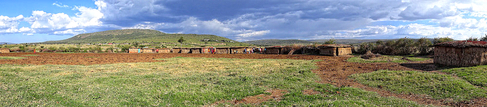 Panoramic view of Maasai Enkang, see from inside
