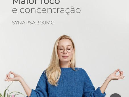 Synapsa 300mg aumenta performance cognitiva, foco e concentração