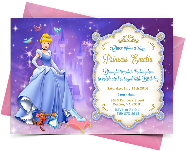 Printable Cinderella Birthday Invitation – Cinderella Birthday Card