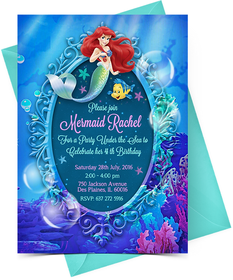 Printable Ariel Birthday Invitation Magic Dreams Design – Ariel Birthday Party Invitations