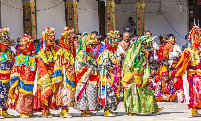 The Punakha Drubchen is a colourful festival which plays host to dramatic re-creations of the 17th century battle of Bhutan.