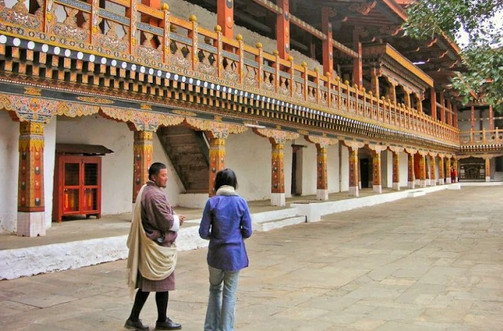 The inner walls of Punakha Dzong are lined with balconies every beam and column of which is highly ornamented.
