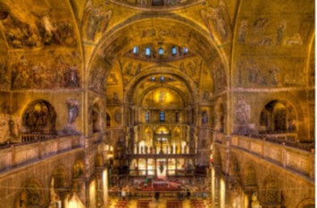 The plan of church is of greek cross, covered with five hemispherical domes one over the crossing of main nave with the transept and the other four on arms of the cross, connected to each other through barrel vaults.This combination produces very unusual acoustic conditions.The acoustic field generated inside st.mark's is strongly dependent on source-receiver configuration.So, larger the distance more the reverberation due the domes and barrel vaults.