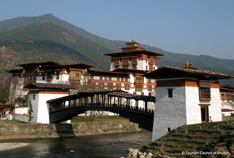 The only way to access the Dzong is to cross the Bazam (bridge) which was rebuilt in 2008 after the original 17th-century bridge was washed away during a flood in 1958.