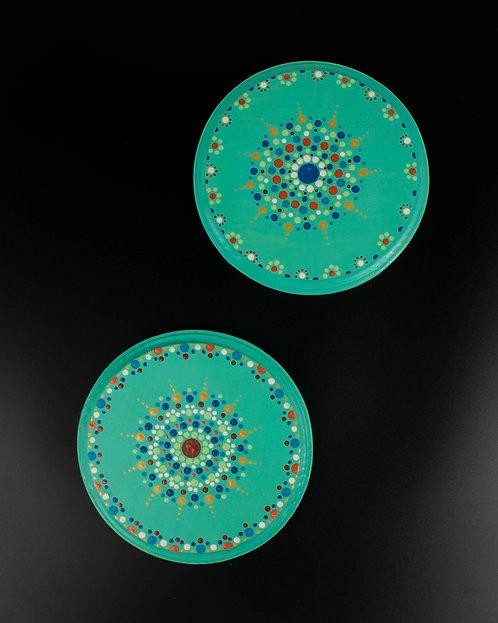 MANDALA DOT ART - Set of Turquoise Trivets