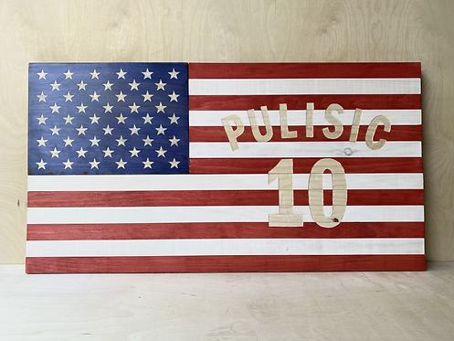 WOODEN PULISIC SOCCER FLAG SIGN - large SOLD AS IS