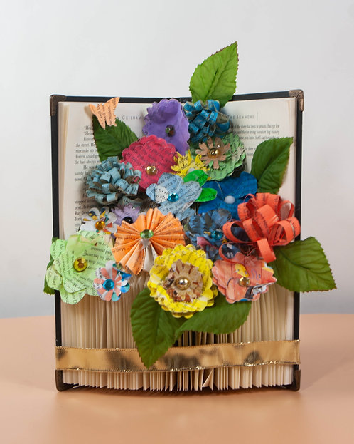 BOOK ART - Flowers in Vase with Blue Ribbon
