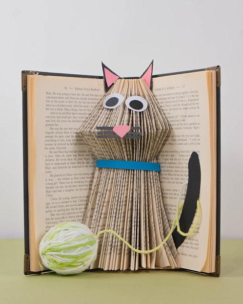 BOOK ART - Cat and Yarn