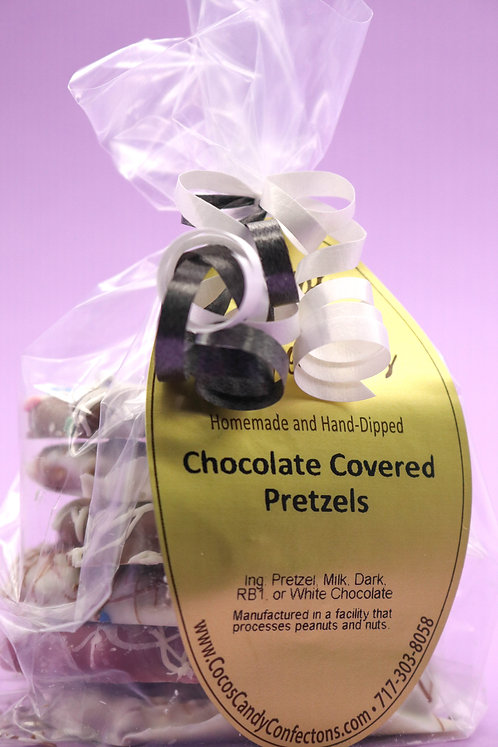 PEANUT BUTTER CHOCOLATE COVERED PRETZELS