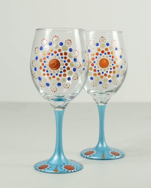 MANDALA DOT ART - By the Beach Wineglass Set