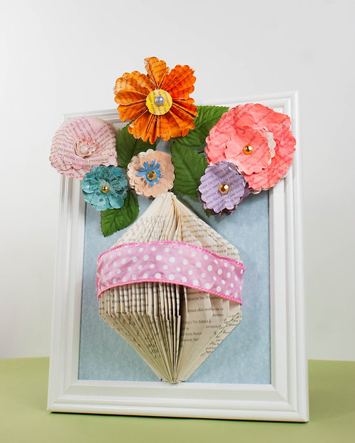 BOOK ART - Flowers in Vase with Pink Dotted Ribbon