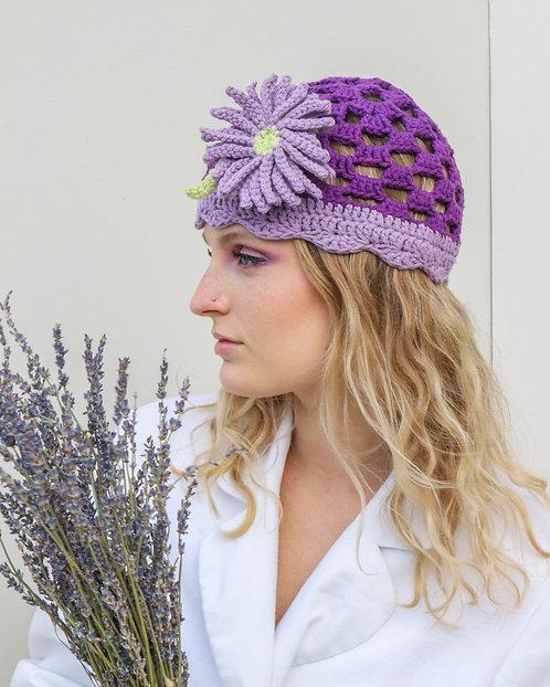CROCHET BEANIE in Purple with Flower Adornment