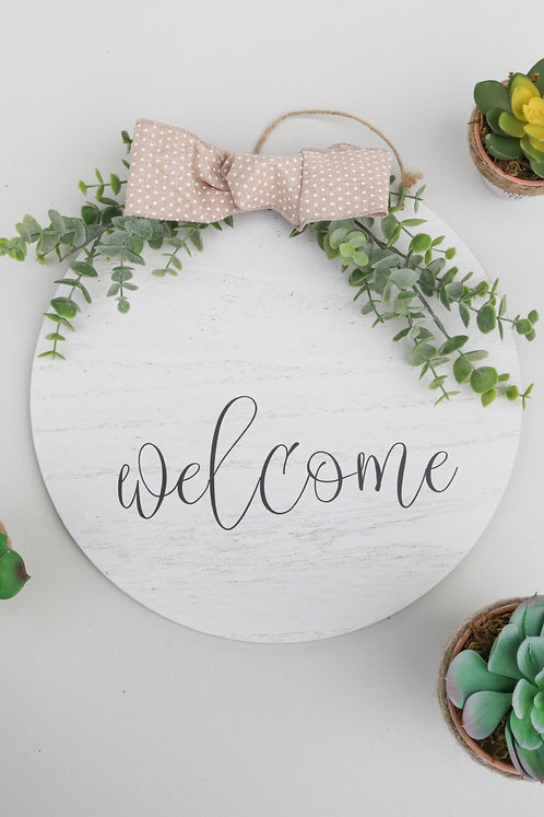 REVERSIBLE ROUND SIGN - Welcome/Merry Christmas