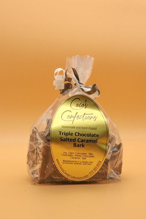 TRIPLE CHOCOLATE SALTED CARAMEL BARK