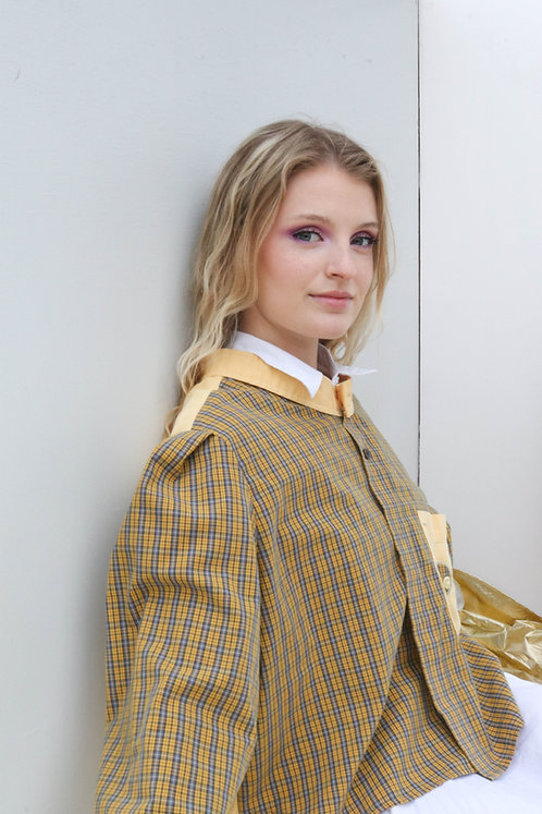 UPCYCLED CROP BLOUSE in plaid and yellow