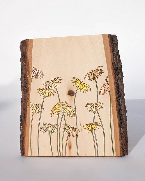 PYROGRAPHY ART - Yellow Flowers