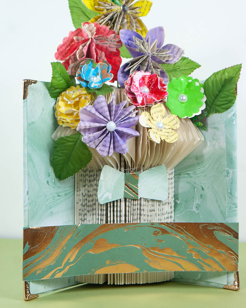 BOOK ART - Flowers in Vase with Green Ribbon/Bow