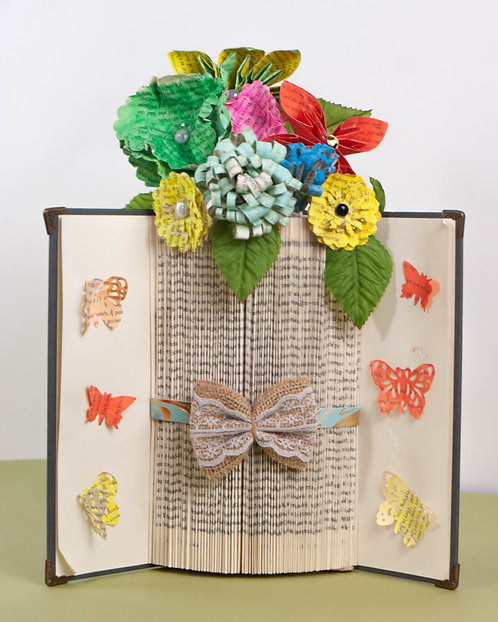 BOOK ART - Flowers in Vase with Butterflies on Cover