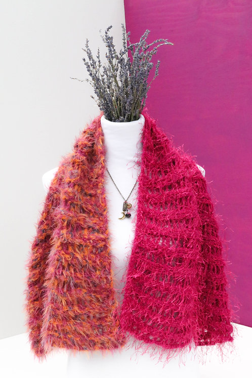 KNITTED FUZZY SWEATER VEST in orange and pink