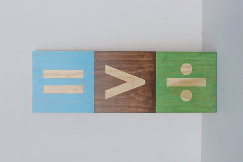 WOODEN EQUALITY SIGN - large